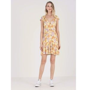 Free People Floral Sun Dress Yellow White Short L